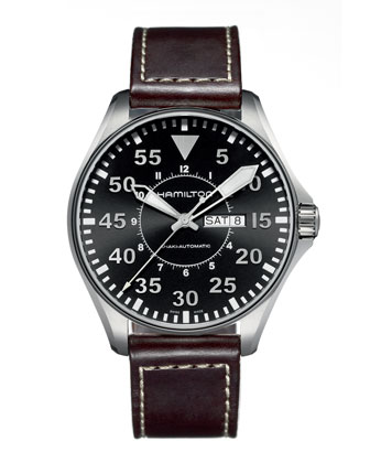Khaki Automatic Pilot Watch, Black/Brown