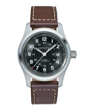 Khaki Field Automatic Watch with Leather Strap, Brown