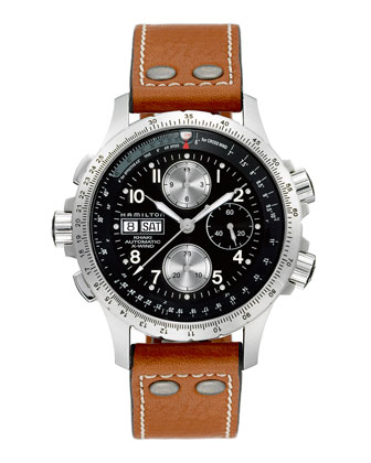 Khaki X-Wind Automatic Chronograph Watch, Tan