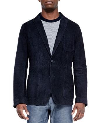 Suede Two-Button Blazer, Cotton/Wool Crewneck Sweater & Pinpoint Optic ...