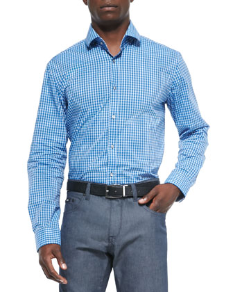 Micro-Check Woven Shirt, Blue