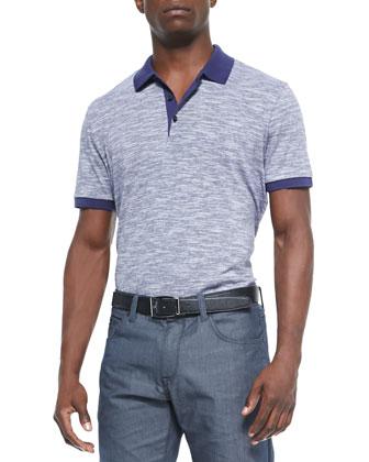 Mouline-Knit Polo, Purple