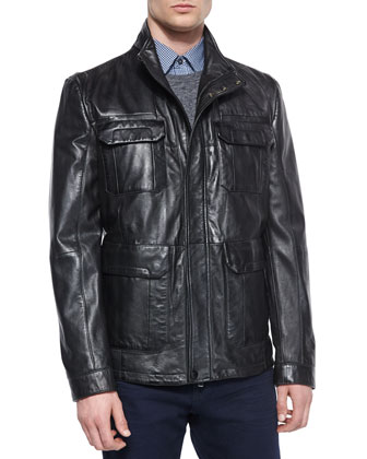 Leather Field Jacket, Black