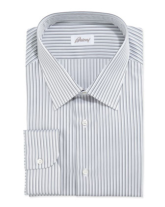 Shadow-Stripe Dress Shirt, White/Charcoal
