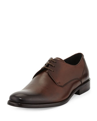 Calf Leather Dress Lace-Up Derby, Brown