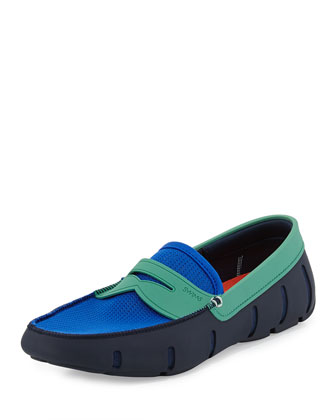 Mesh and Rubber Penny Loafer, Navy/Turquoise