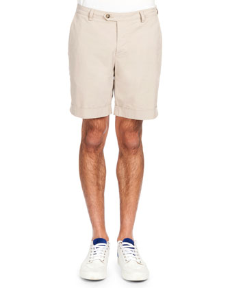 Smiley Patch Short-Sleeve Polo & Flat-Front Bermuda Shorts