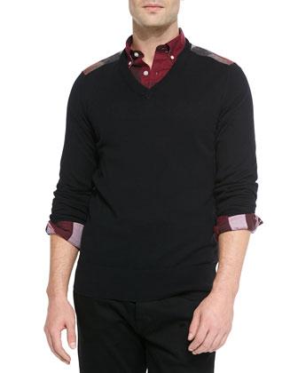 Check-Shoulder V-Neck Sweater, Black