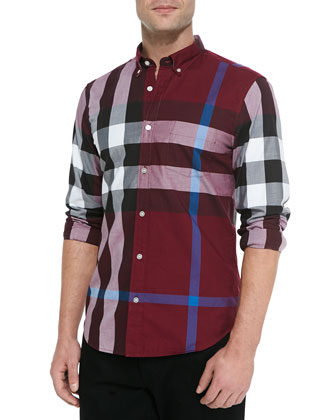 Check Sport Shirt, Dark Plum