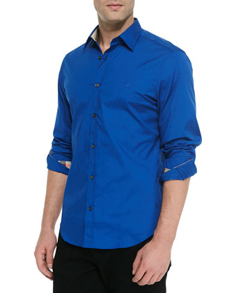 Solid Stretch-Cotton Sport Shirt, Marine Blue