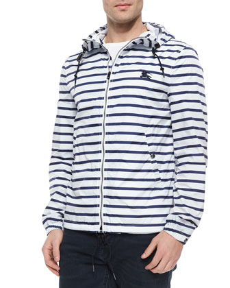 Striped Nylon Zip-Up Wind Jacket, White