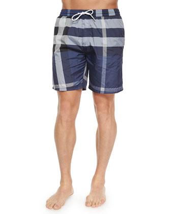 Nylon Check Swim Shorts, Navy