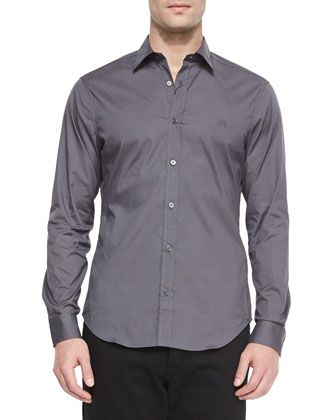 Henry Check-Detail Sport Shirt, Stone Gray