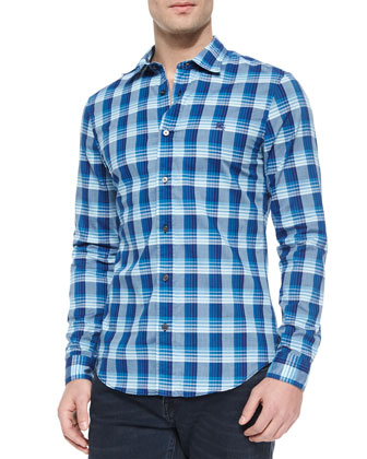 Long-Sleeve Check Sport Shirt, Blue