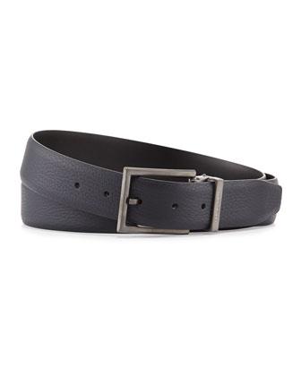 Reversible Grain-Leather Belt, Cobalt/Black