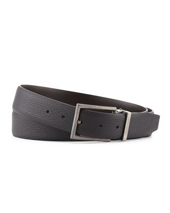 Reversible Grain-Leather Belt, Slate