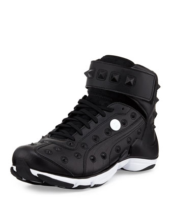 MY-79 Studded High-Top Sneaker, Black