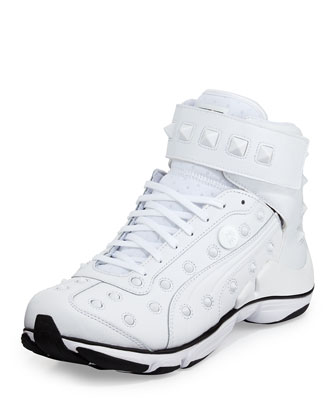 MY-79 Studded High-Top Sneaker, White