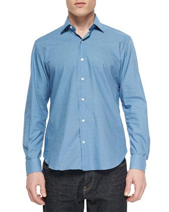 Plaid Long-Sleeve Sport Shirt, Medium Blue