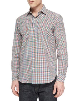 Plaid Long-Sleeve Sport Shirt, Tangerine