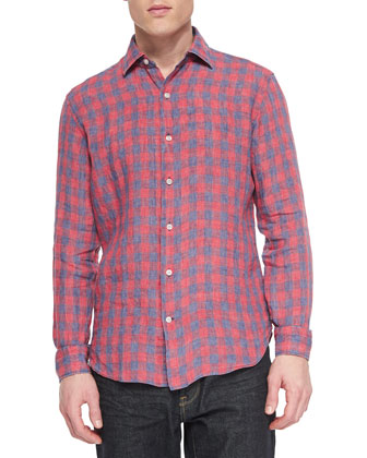 Large Gingham Long-Sleeve Shirt, Red