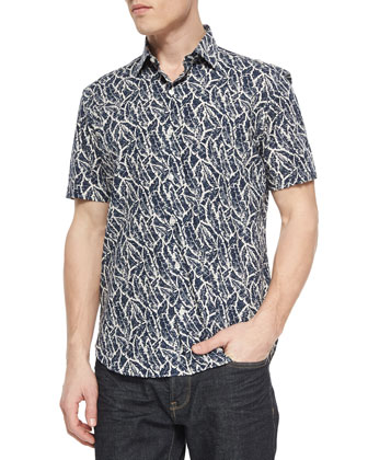 Leaf-Print Short-Sleeve Sport Shirt, Navy