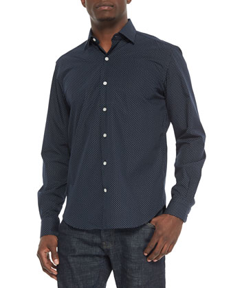 Tiny Box-Print Long-Sleeve Sport Shirt, Navy