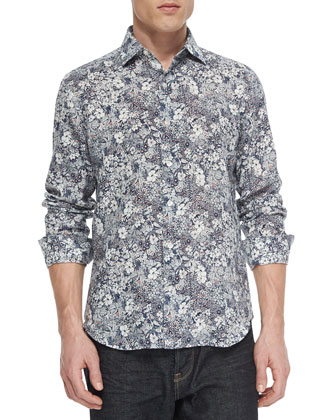 Floral-Print Long-Sleeve Sport Shirt, Navy/Multi