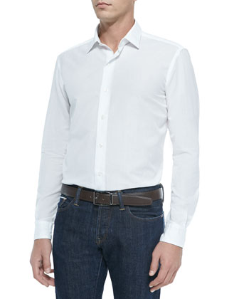 Linen/Cotton Woven Shirt, White