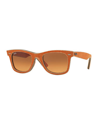 Men's Denim Wayfarer Sunglasses, Orange