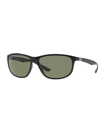 Rectangular Full-Rim Sunglasses, Matte Black