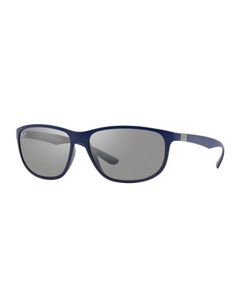 Rectangular Full-Rim Sunglasses, Dark Blue
