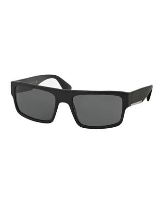 Rectangular Plastic Sunglasses, Matte Black