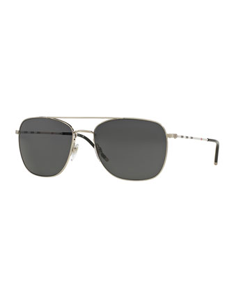 Check-Temple Aviator Sunglasses, Silver