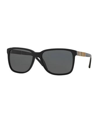 Men's Rectangular Sunglasses with Check Detail, Black