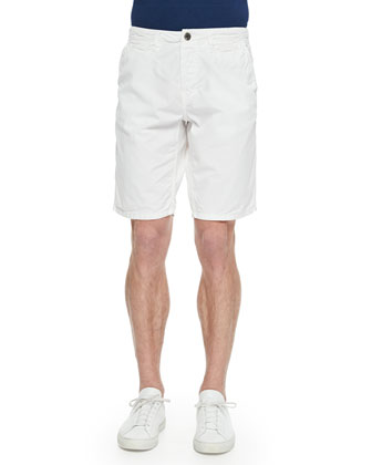 Cotton-Twill Shorts, White
