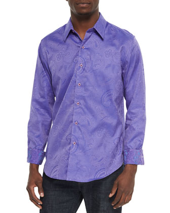 Pyramid Paisley Tailored-Fit Sport Shirt, Violet