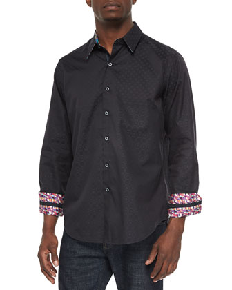Tide Pool Tonal-Print Sport Shirt, Black