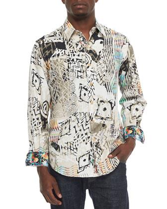 Grass Multi-Print Sport Shirt, Multi