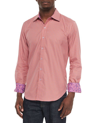 Motor Boat Houndstooth Sport Shirt, Orange