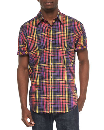 Coral Reef Woven Plaid Sport Shirt