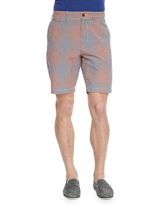 Wanderer Check-Patterned Shorts, Red