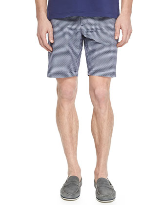 Gambler Check Woven Shorts, Navy