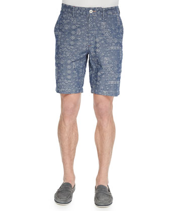 Hero Paisley-Print Woven Shorts, Charcoal