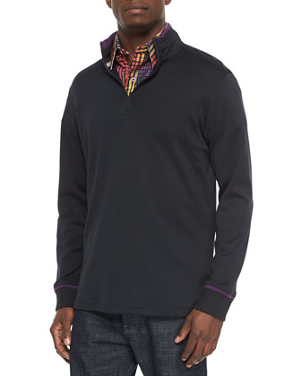 Harbor Quarter-Zip Pullover Sweater & Coral Reef Woven Plaid Sport Shirt
