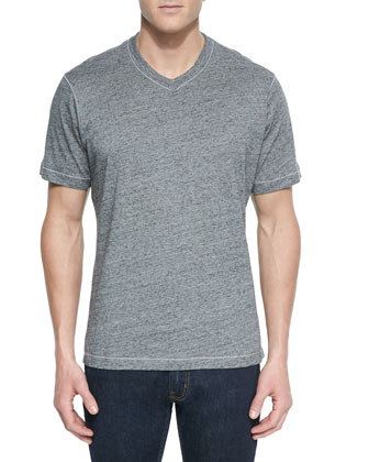 Battleship V-Neck T-Shirt, Heather Gray/Black