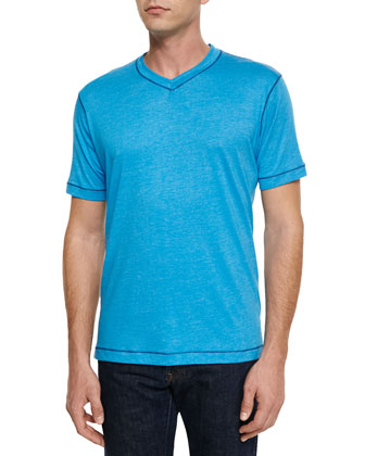 Battleship V-Neck T-Shirt, Aqua Heather