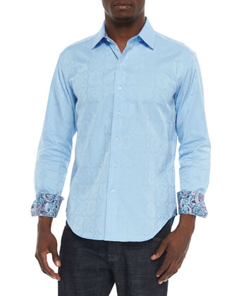Salisbury Paisley Sport Shirt, Light Blue