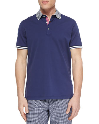 Axel Knit Short-Sleeve Pique Polo, Navy