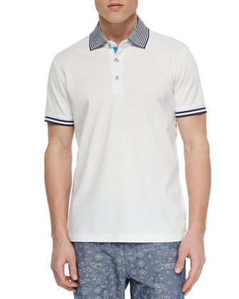 Axel Knit Short-Sleeve Pique Polo, White
